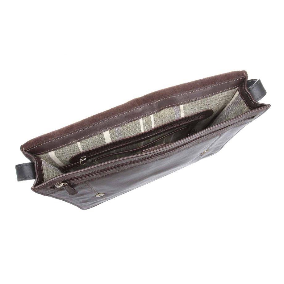 interior of arad brown and black bag