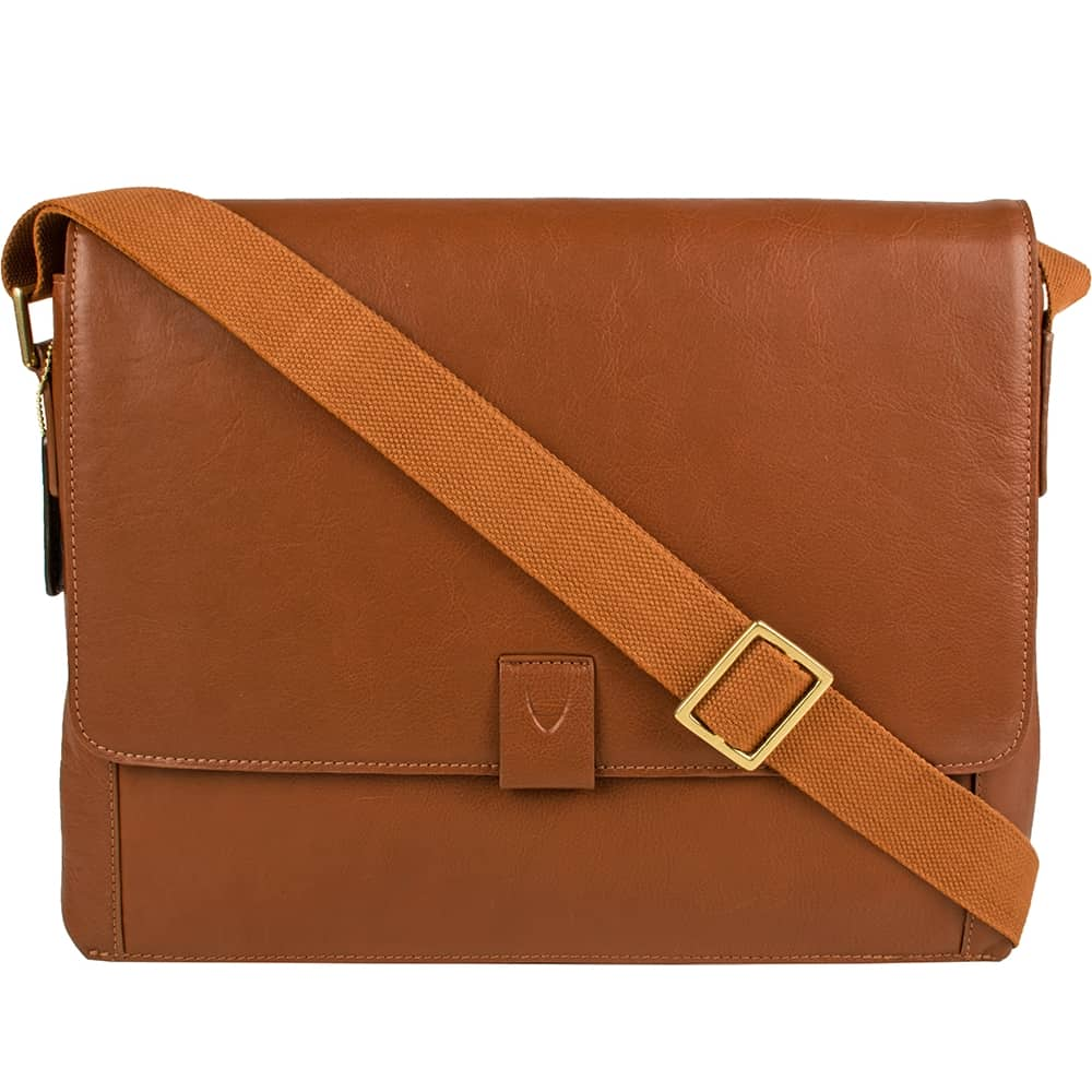 closed tan aiden bag with strap