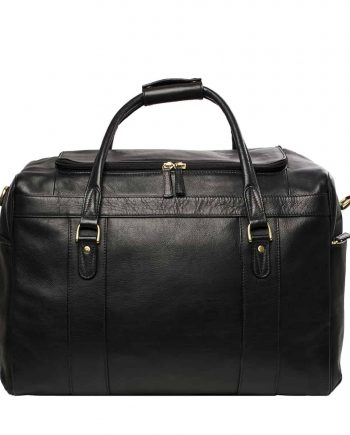 A Front View Picture Of Luxury Jonty Black Leather Gym and Travel Bag