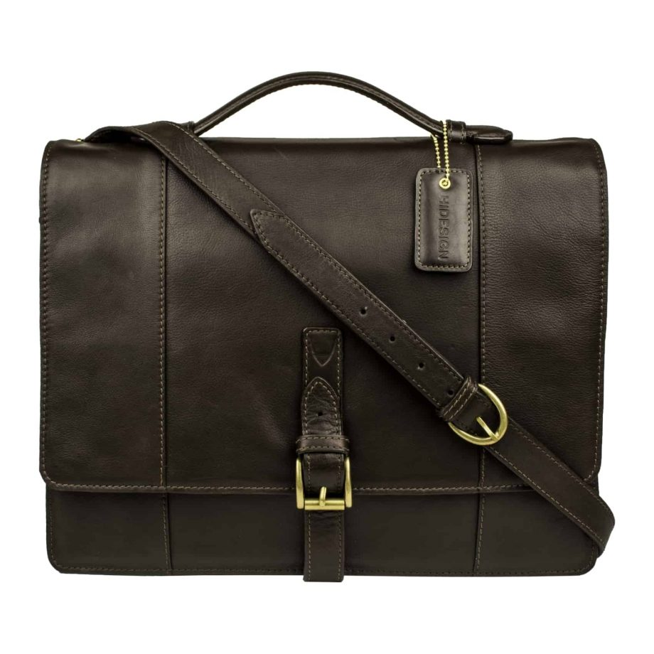front view of closed brown maverick bag