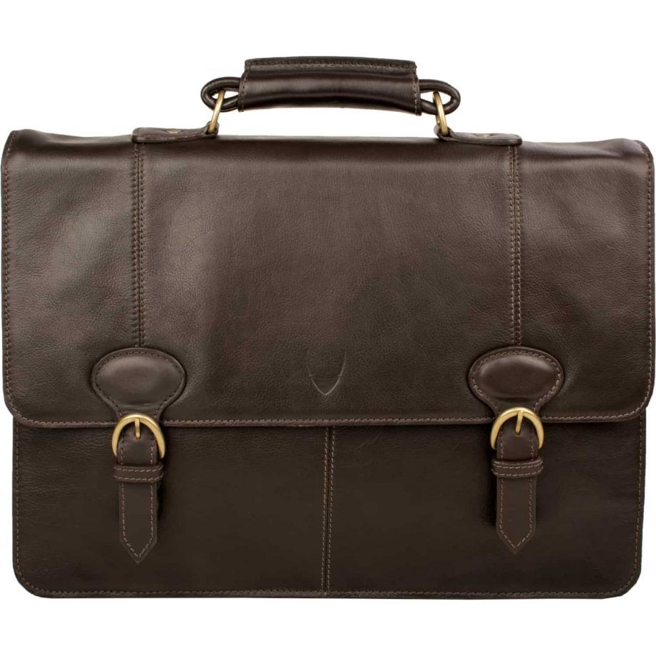 front view of brown leather parker bag no strap