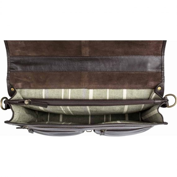 A insight view of the Aberdeen mid-size classic brown leather briefcase, taken from above