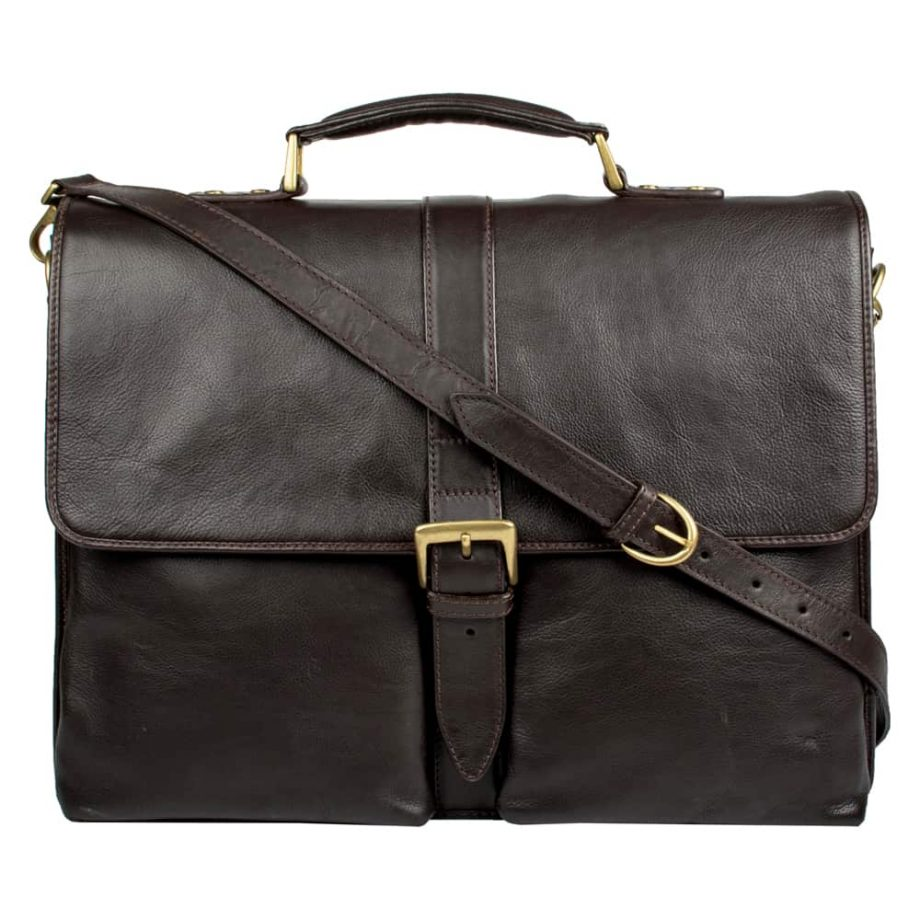 A front view with the strap of brown Aberdeen mid-size classic leather briefcase