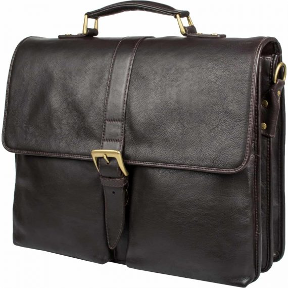 A front view sideways of brown Aberdeen classic leather briefcase