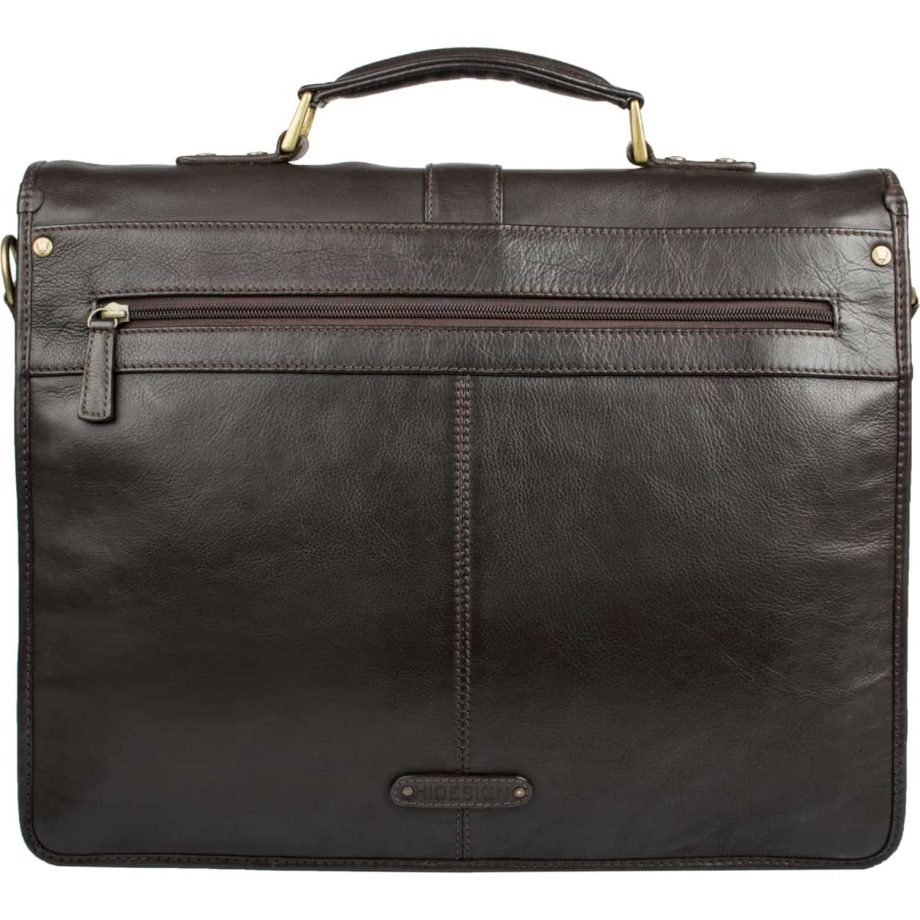 A back front of brown Aberdeen classic leather briefcase