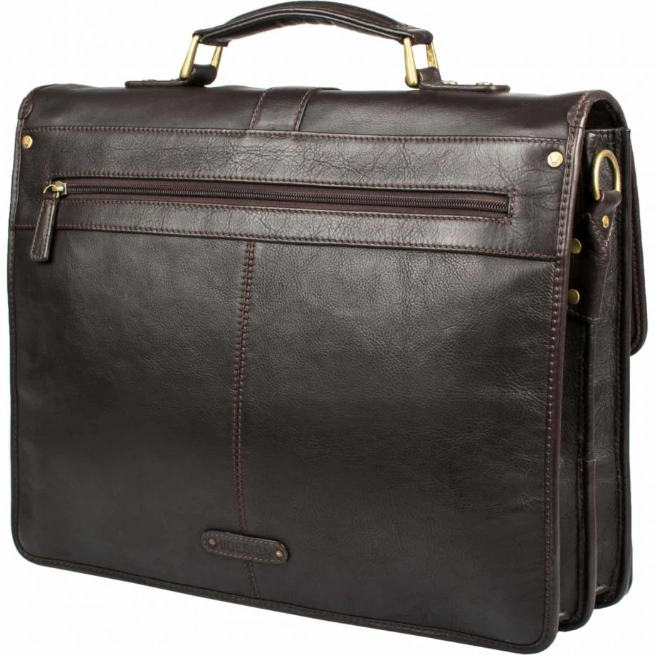 A back front view sideways of brown Aberdeen classic leather briefcase