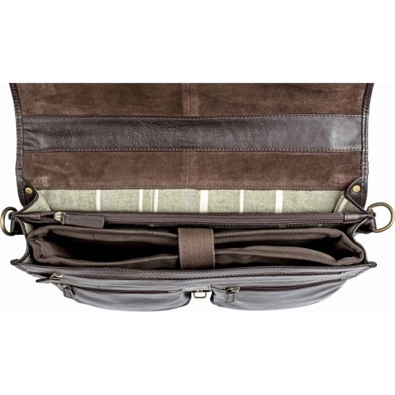 An insight view with the interiors of the Aberdeen mid-size classic brown leather briefcase, taken from above
