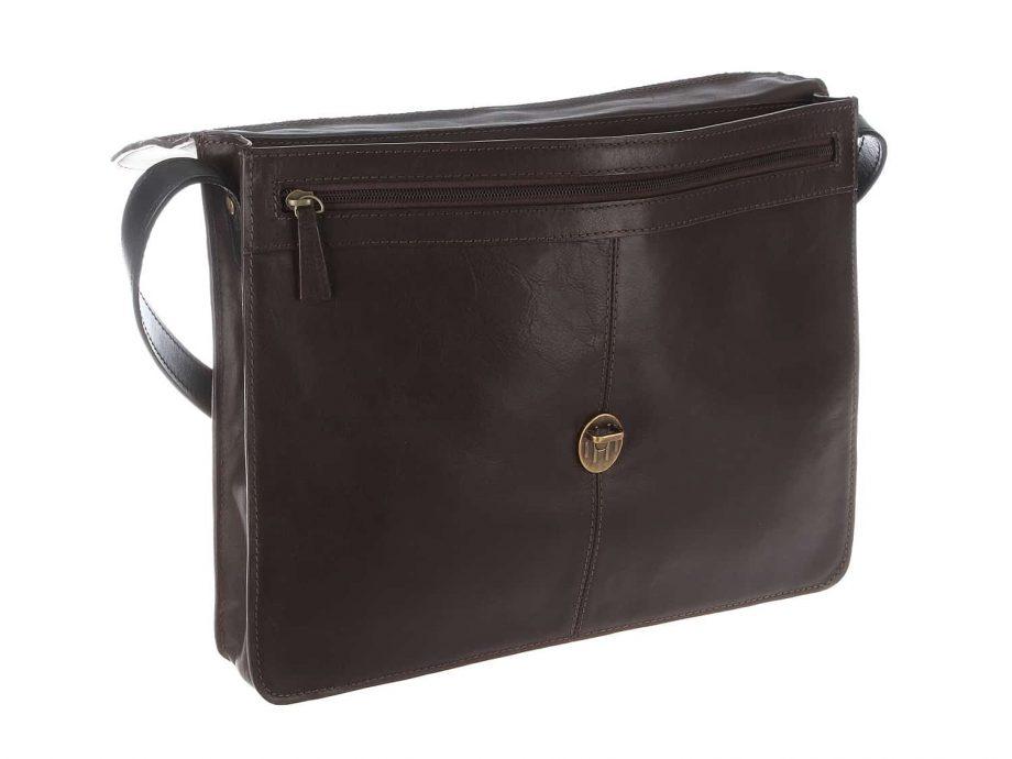 back of arad brown black bag with zip