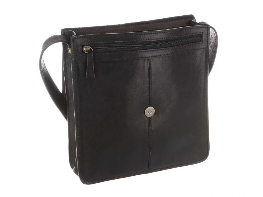 3-4 view of the Arad 03 cross body black-brown dispatch Ranchero vegetable tanned leather bag with the front pocket open