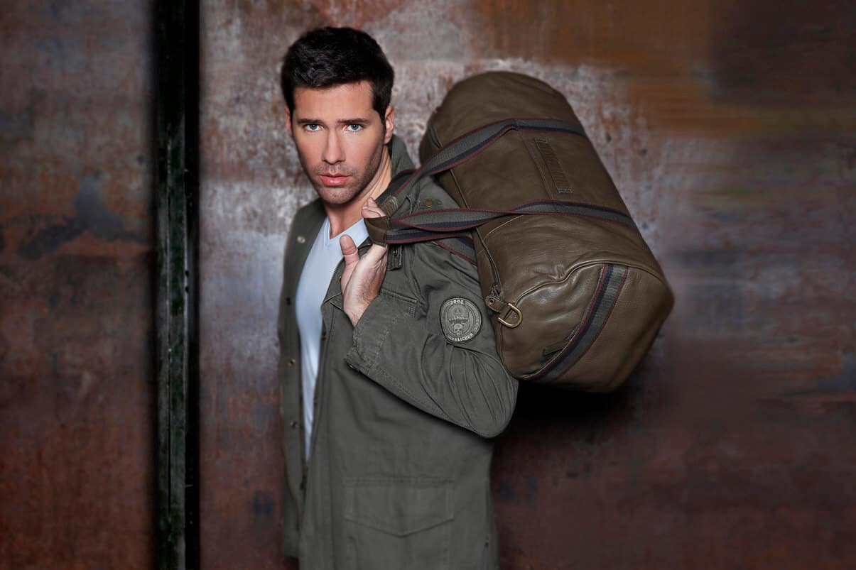 mens leather travel gym holdall bag
