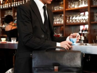 mens black leather briefcase professional