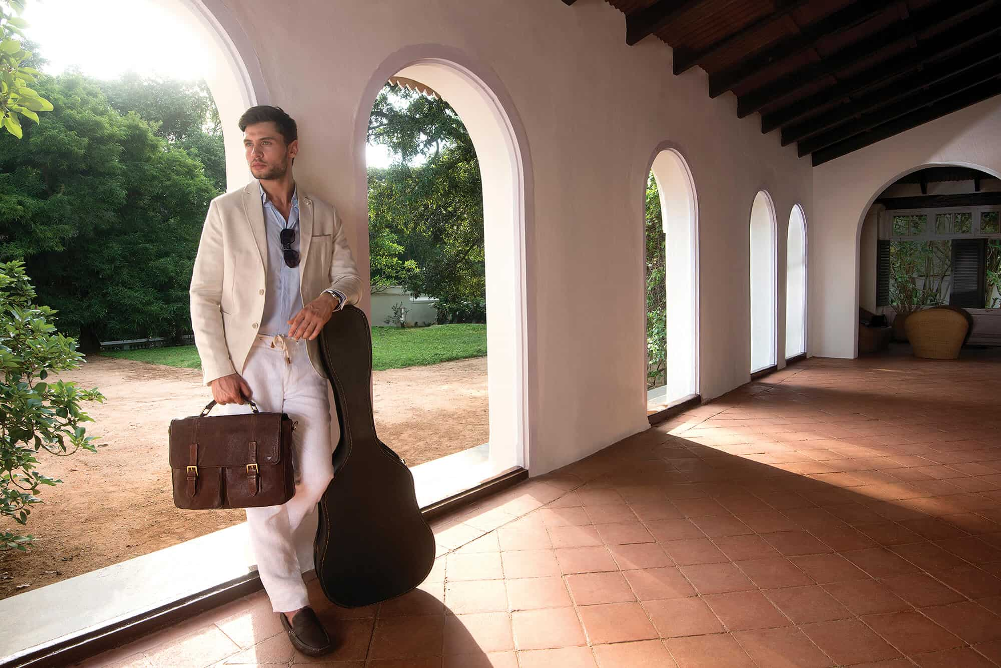 mens quality fashion brown leather briefcase