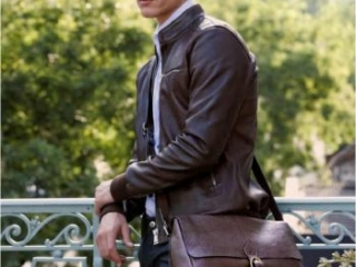 mens brown leather messenger bag with strap