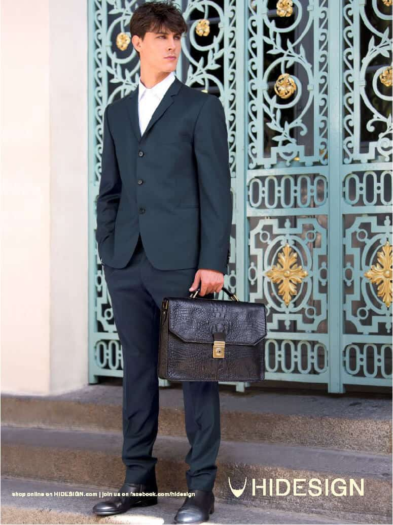 mens black leather briefcase scale print