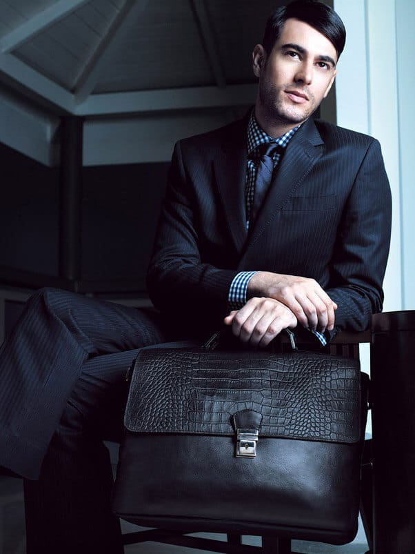 black leather briefcase scale print mens