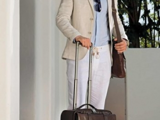quality brown leather travel suitcase