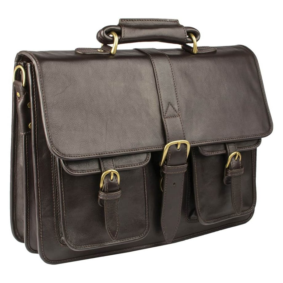 angled view of brown castello bag with buckles