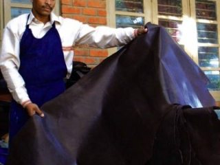 large cuts of dark brown leather
