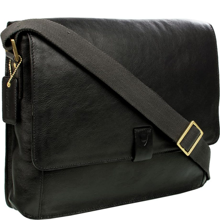 angled view of dsc black bag with strap