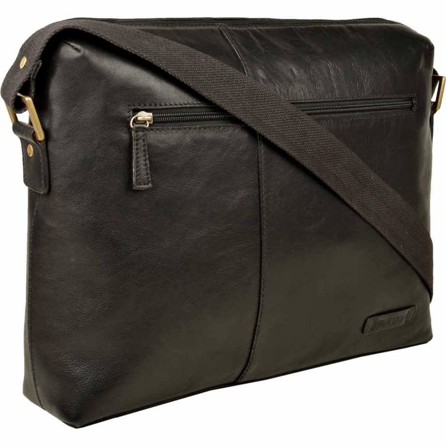 black leather fitch bag with strap and zip