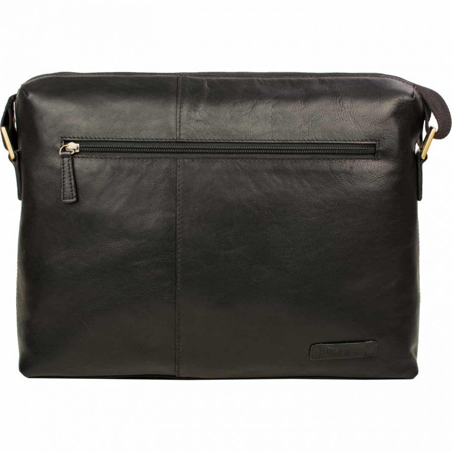 black leather fitch bag with zip
