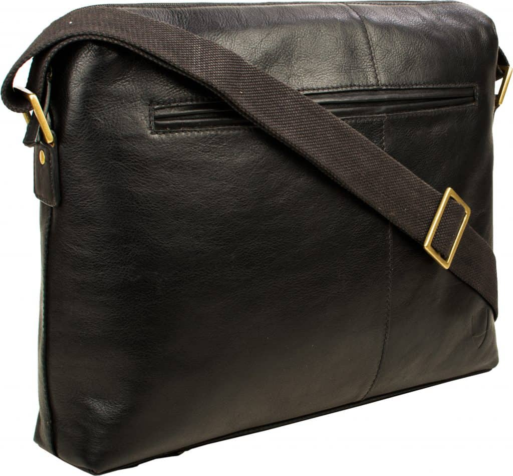 black fitch bag with strap and pocket