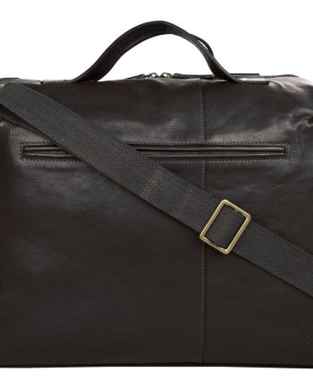 back view of black leather fitch bag with strap