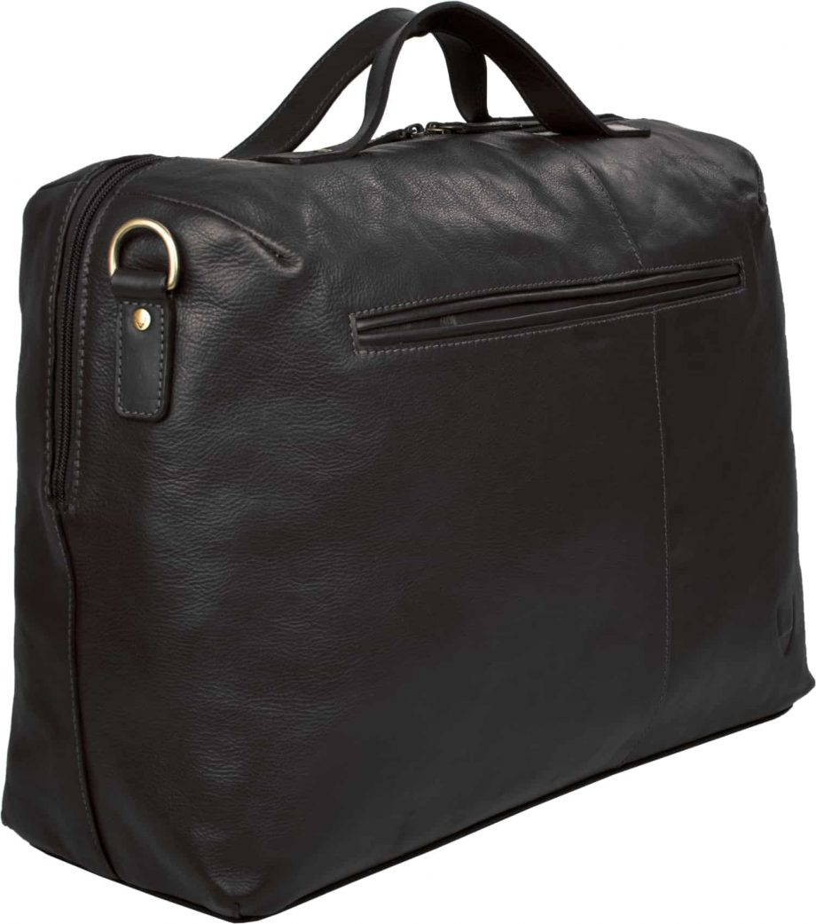 angled back view of black leather fitch bag with pocket
