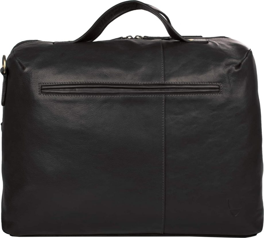 back of black leather fitch bag with pocket
