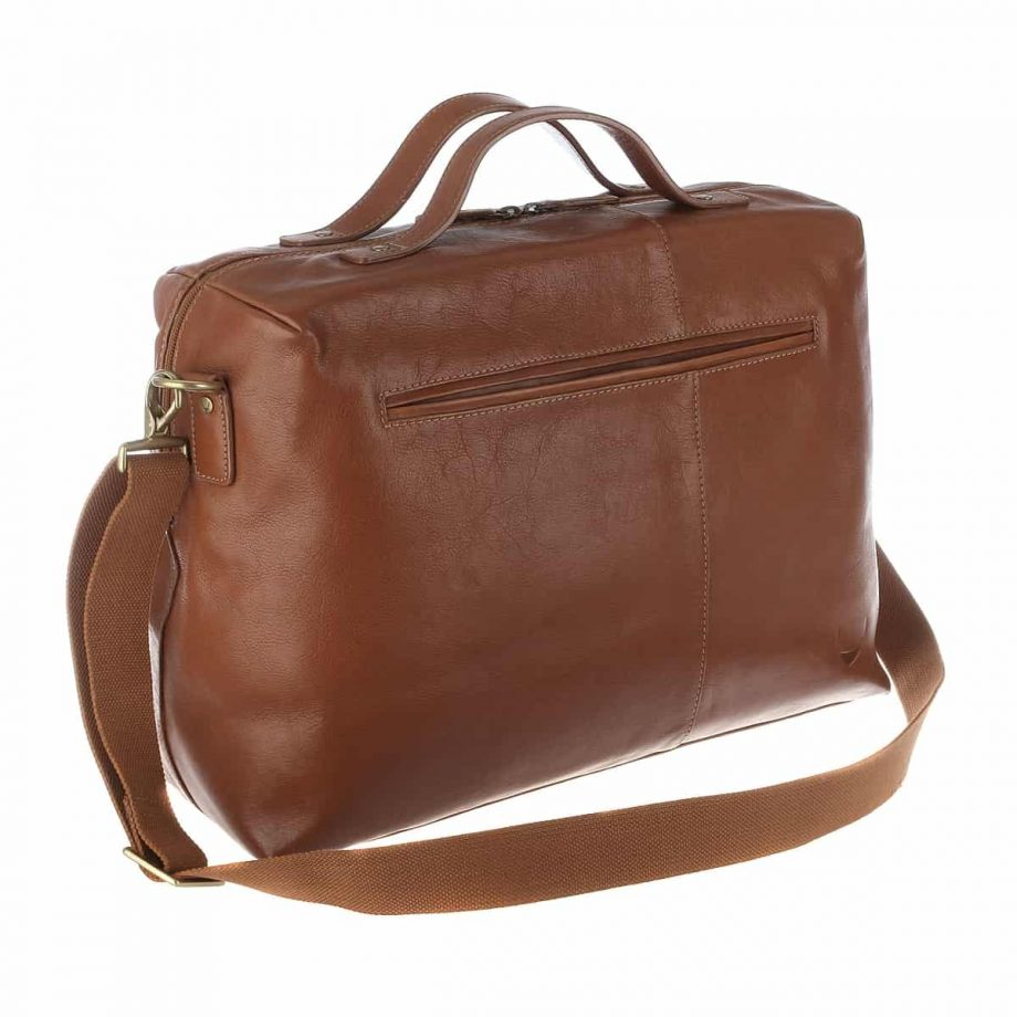 3-4 back side view with the strap of Fitch 03 Tan leather holdall bag
