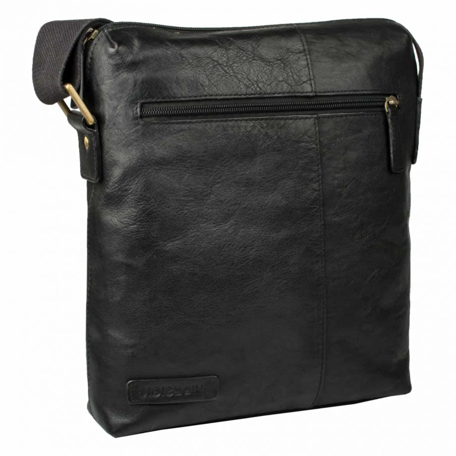 angled view of black leather fitch bag and zip