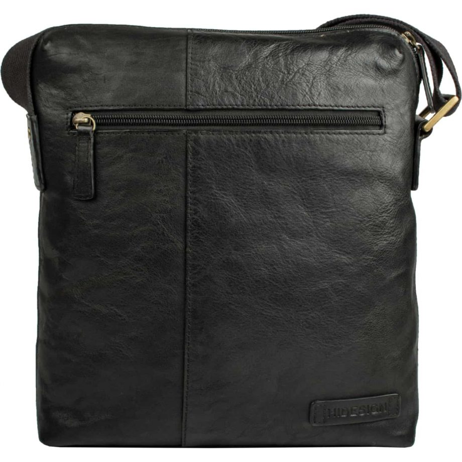 front view of black leather fitch bag no strap