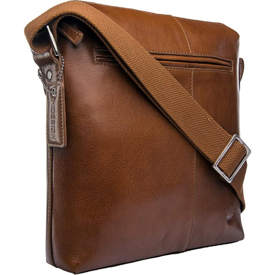 angled view of tan fitch bag with strap