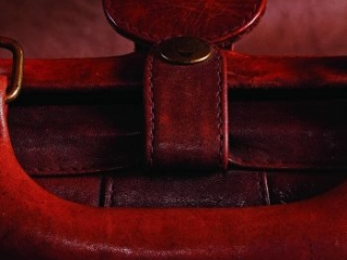 close up red leather strap handle and buckle