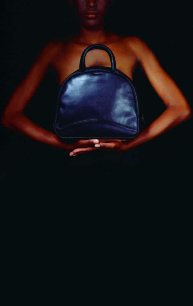 blue leather backpack model