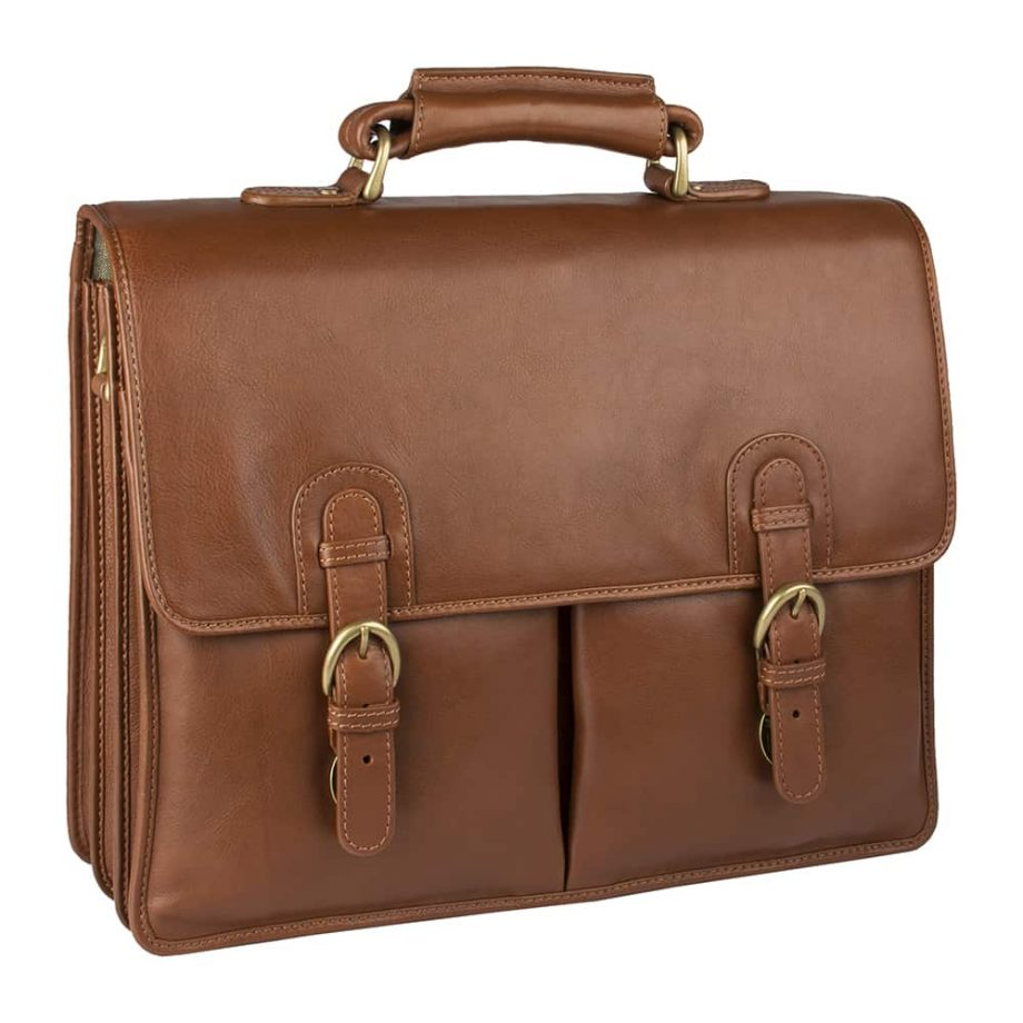 angled view of closed hugo tan bag with buckles