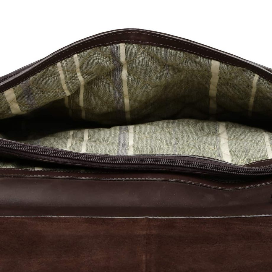 A close up internal view of 02 Brown leather briefcase