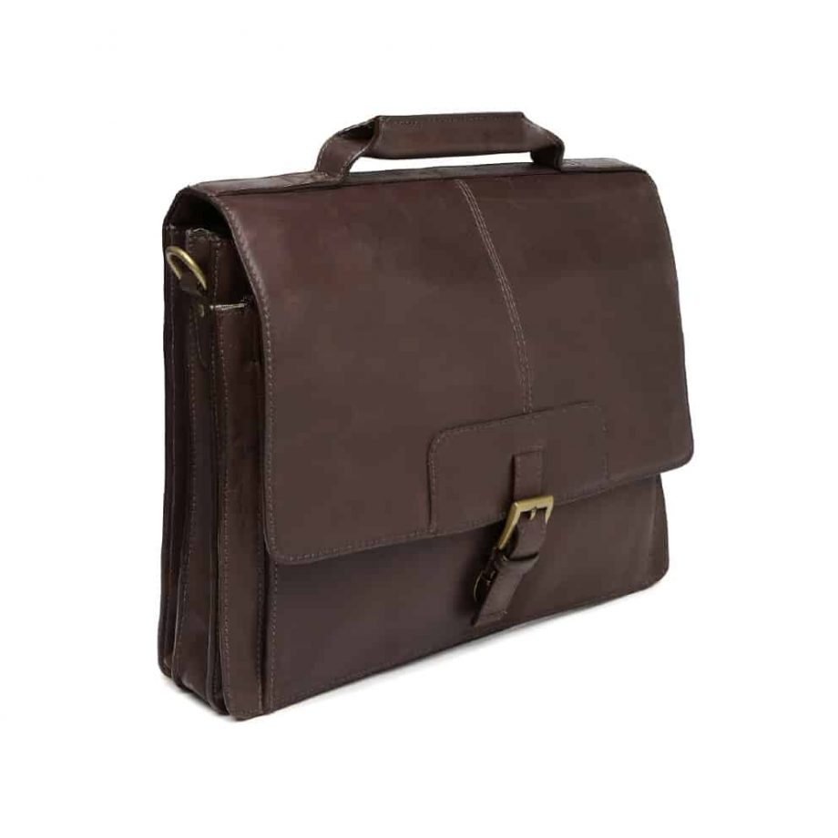 3-4 view of Iceman 02 Brown leather briefcase without the strap