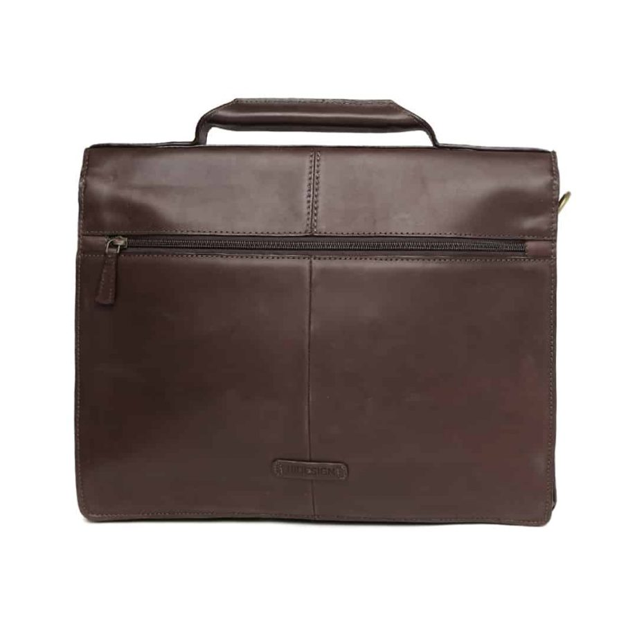 A backfront view of Iceman 02 Brown leather briefcase without the strap