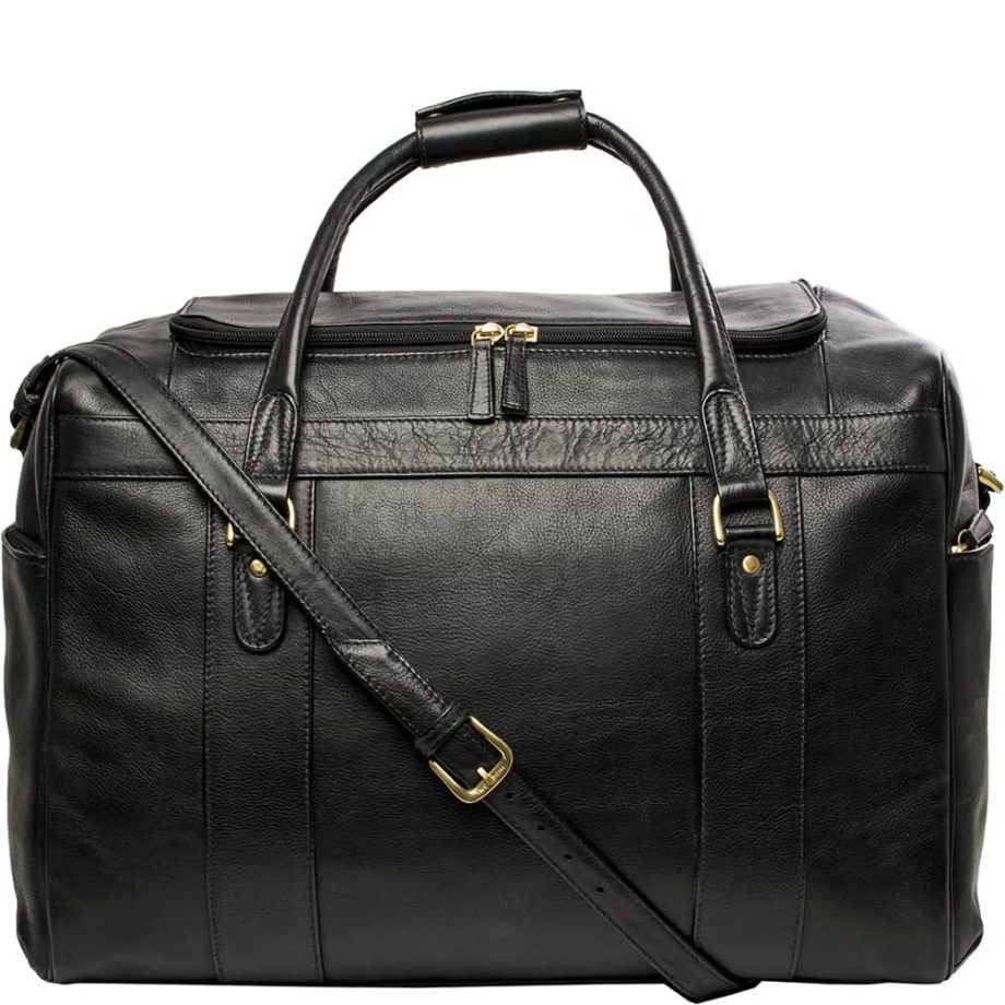 A close up Front View with the strap of Luxury Jonty Black Leather Gym and Travel Bag