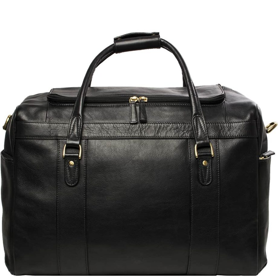 A close up Front View Of Luxury Jonty Black Leather Gym and Travel Bag