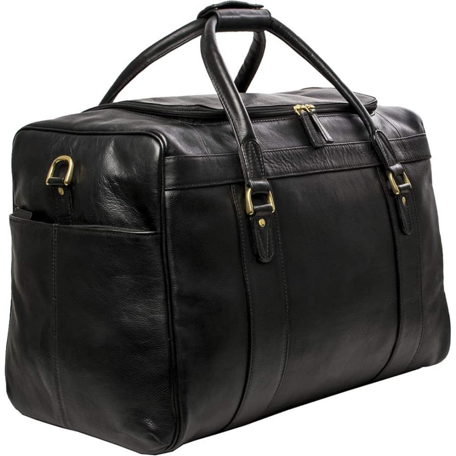 3-4 view of Jonty Black Luxury Leather Gym and Travel Bag
