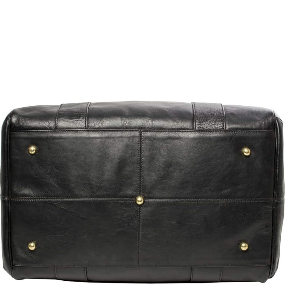 A bottom view of Luxury Black Jonty Leather Gym and Travel Bag