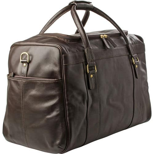 3-4 view of Jonty Brown Luxury Leather Gym and Travel Bag
