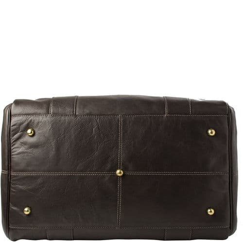 A bottom view of Luxury Jonty Brown Leather Gym and Travel Bag