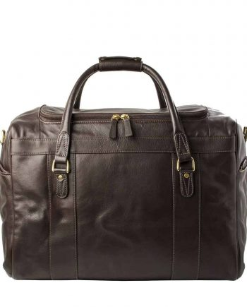 A Front Picture Of Luxury Jonty Brown Leather Gym and Travel Bag