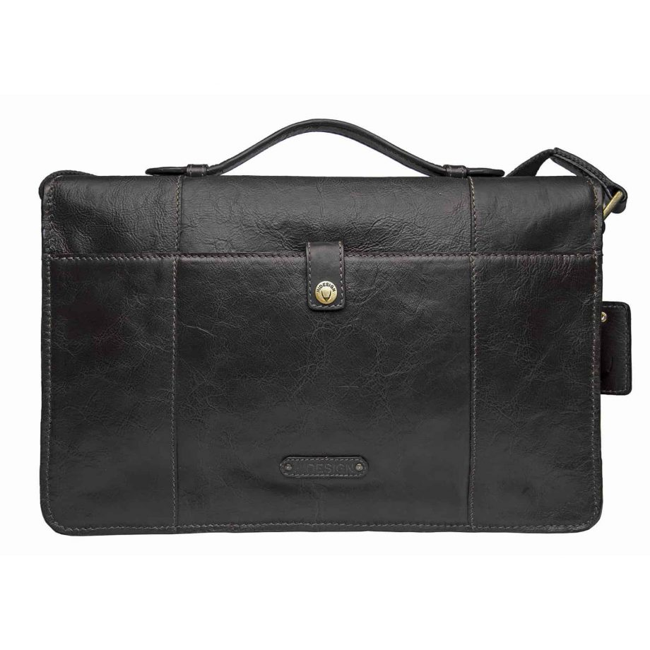 A backside view of Maverick 01 Black Premium Ranchero Vegetable Tanned Leather flap-over briefcase,