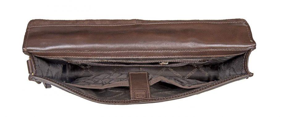 inside view of closed brown maverick bag
