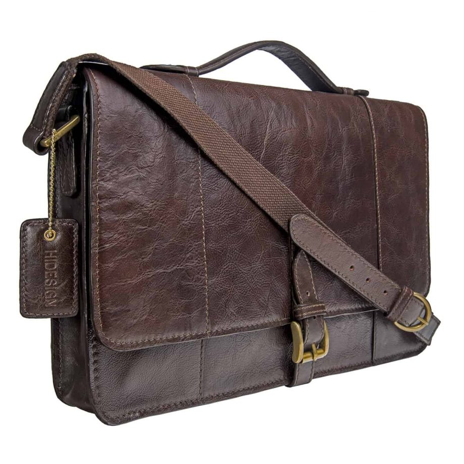 angled view of closed brown maverick bag with strap