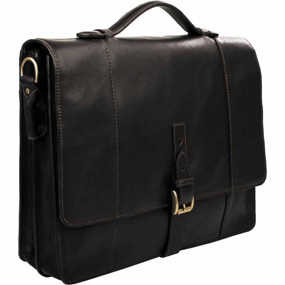 A close up 3-4 view of Maverick 02 Black Vegetable Tanned leather flap-over double gusset briefcase